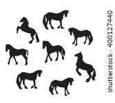 black horse silhouette set...   Shutterstock . vector #400127440