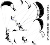 kitesurfers on white | Shutterstock .eps vector #400145458