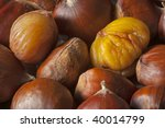natural sweet chestnuts just roasted and ready to eat - stock photo
