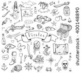 hand drawn doodle pirate icons... | Shutterstock .eps vector #400148890