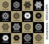 vintage monogram frame template ... | Shutterstock .eps vector #400161394