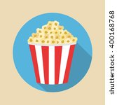 bowl full of popcorn. flat icon. | Shutterstock .eps vector #400168768