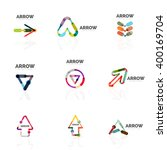 set of linear arrow abstract... | Shutterstock .eps vector #400169704