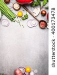 healthy cooking with fresh... | Shutterstock . vector #400173478