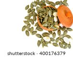 healthy food  pumpkin seeds and ... | Shutterstock . vector #400176379