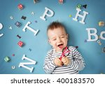 one year old child lying with... | Shutterstock . vector #400183570