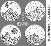 hand painted ink mountains ... | Shutterstock .eps vector #400186594