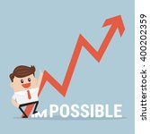 businessman breaking impossible ... | Shutterstock .eps vector #400202359