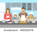 mother   father and kids... | Shutterstock .eps vector #400204378