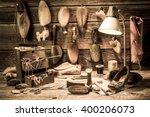 cobbler workshop with tools ...   Shutterstock . vector #400206073