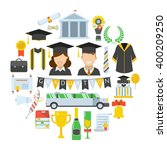 graduation day. man and woman... | Shutterstock .eps vector #400209250