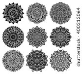 ornamental monochrome set with... | Shutterstock .eps vector #400212064