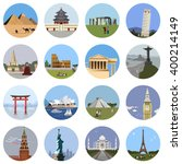 world landmarks flat icon set.... | Shutterstock .eps vector #400214149