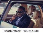 a black man talking by... | Shutterstock . vector #400215838