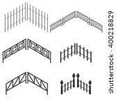 iron fence in isometric. the... | Shutterstock .eps vector #400218829