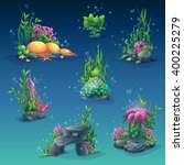 set of underwater objects.... | Shutterstock .eps vector #400225279