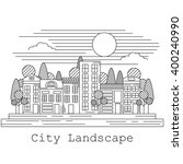line art style city landscape.... | Shutterstock .eps vector #400240990