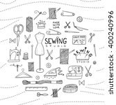 sewing doodle icons arranged in ... | Shutterstock .eps vector #400240996