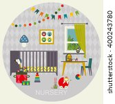 baby room with furniture.... | Shutterstock . vector #400243780