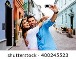 Happy Couple Taking Selfie On...