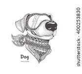 dog with ethnic floral doodle... | Shutterstock .eps vector #400253830