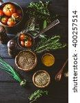 vegetables on wood. bio healthy ... | Shutterstock . vector #400257514