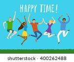 group of five happy friends ... | Shutterstock .eps vector #400262488