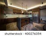 stools at kitchen bar kitchen... | Shutterstock . vector #400276354