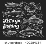 fishing. hand drawn sketch fish ... | Shutterstock .eps vector #400284154