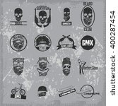 hipster skull print for t shirt.... | Shutterstock .eps vector #400287454
