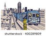 scene street illustration. hand ... | Shutterstock .eps vector #400289809