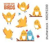 Cute Vector Birds In Different...