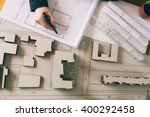 top view of architect drawing... | Shutterstock . vector #400292458