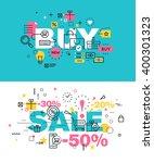 set of modern vector... | Shutterstock .eps vector #400301323