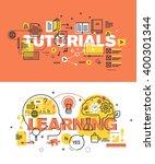 set of modern vector... | Shutterstock .eps vector #400301344
