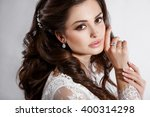 beautiful bride wedding makeup... | Shutterstock . vector #400314298