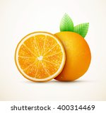fresh oranges fruits with green ... | Shutterstock .eps vector #400314469