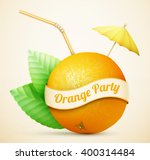 fresh orange with umbrella and... | Shutterstock .eps vector #400314484