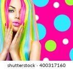 beauty girl portrait with... | Shutterstock . vector #400317160