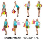 woman with shopping bags... | Shutterstock . vector #400334776