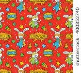 superhero. bunny. carrot.... | Shutterstock .eps vector #400352740
