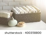 Wicker Basket With Towels...
