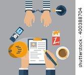 police detective interrogating... | Shutterstock .eps vector #400388704