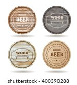 set of wooden casks with... | Shutterstock .eps vector #400390288