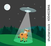 ufo abducts cow.flying saucer... | Shutterstock .eps vector #400402846