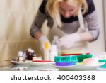 woman is making a homemade soap ... | Shutterstock . vector #400403368