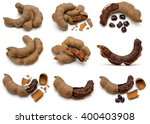 the set of dired tamaring fruit ... | Shutterstock . vector #400403908