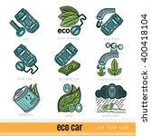 set of eco car outline color...