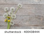 Dandelion Flowers On Wooden...