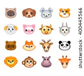 cute animal heads with emotions ... | Shutterstock .eps vector #400445566